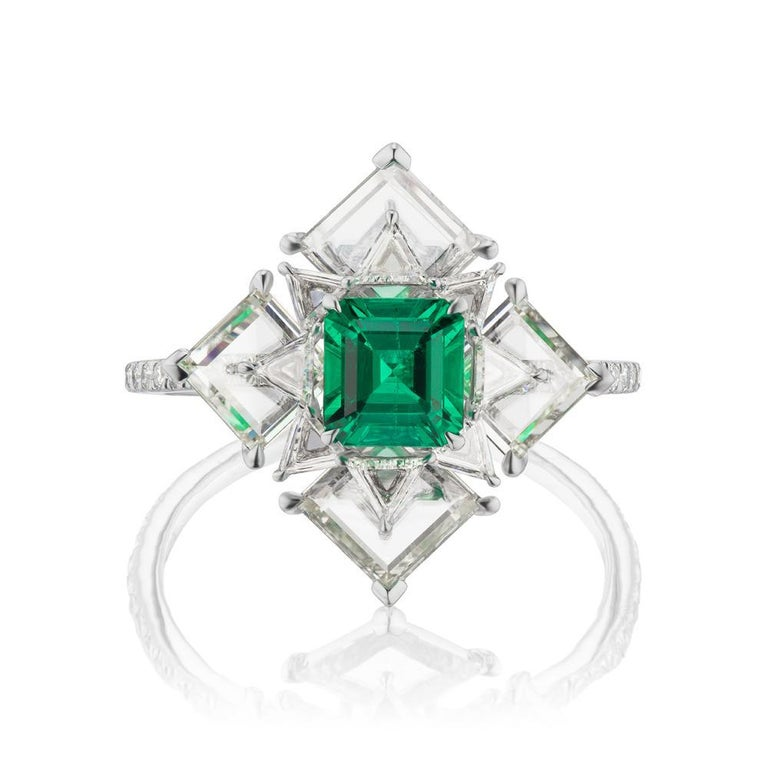 Modern Takat NO OIL Colombian Emerald And Diamond Ring In Platinum For Sale