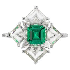 Takat NO OIL Colombian Emerald And Diamond Ring In Platinum
