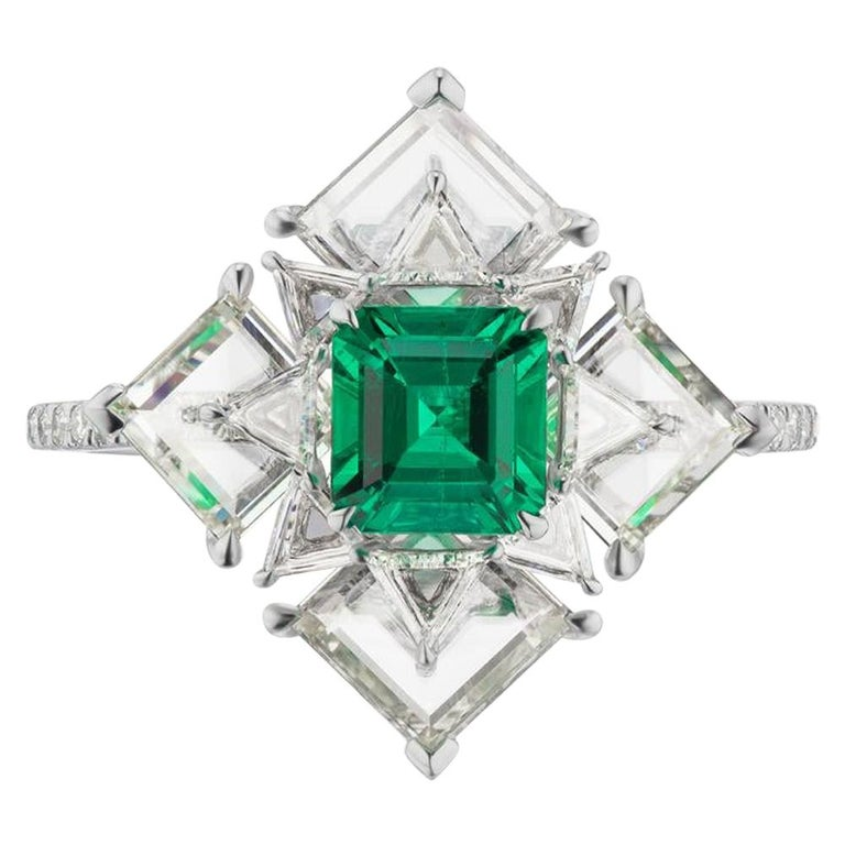 Takat NO OIL Colombian Emerald And Diamond Ring In Platinum For Sale