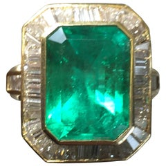 Colombian Emerald Octagon and Diamond Cocktail Ring in 18 Karat Yellow Gold