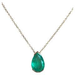 Colombian Emerald Pear Drop Pendant Necklace 18K Gold
