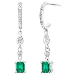 Colombian Emerald, Pear Shaped Diamond Gold Diamond Hoop Earrings