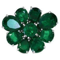 Colombian Emerald Platinum Flower Ring/Pendant