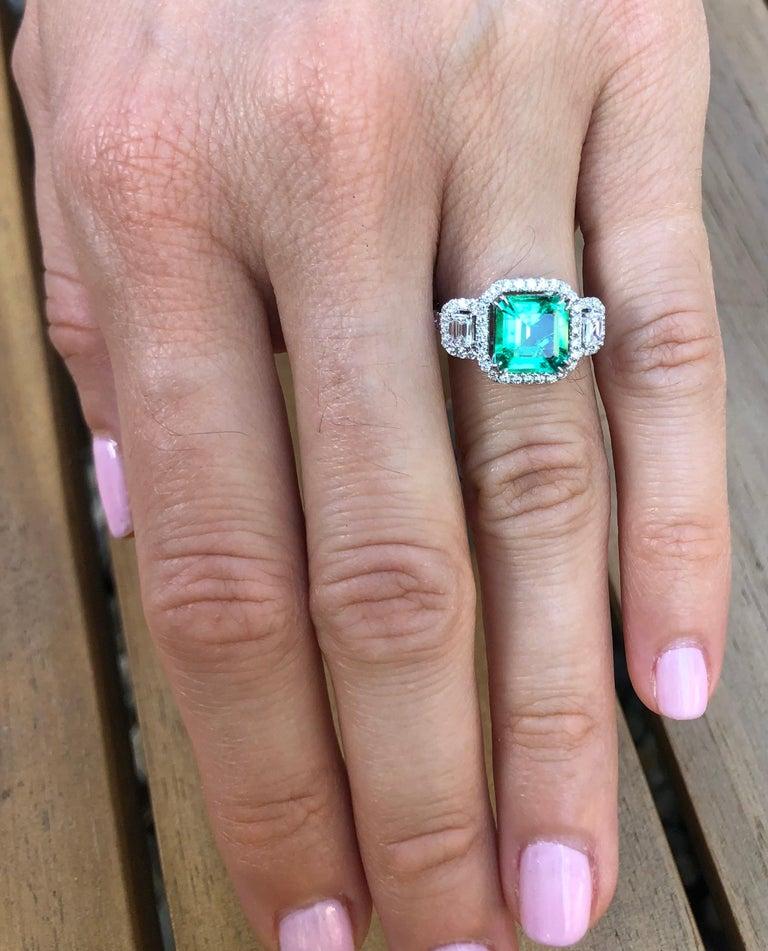 Women's Colombian Emerald Ring 1.75 Carat Emerald Cut