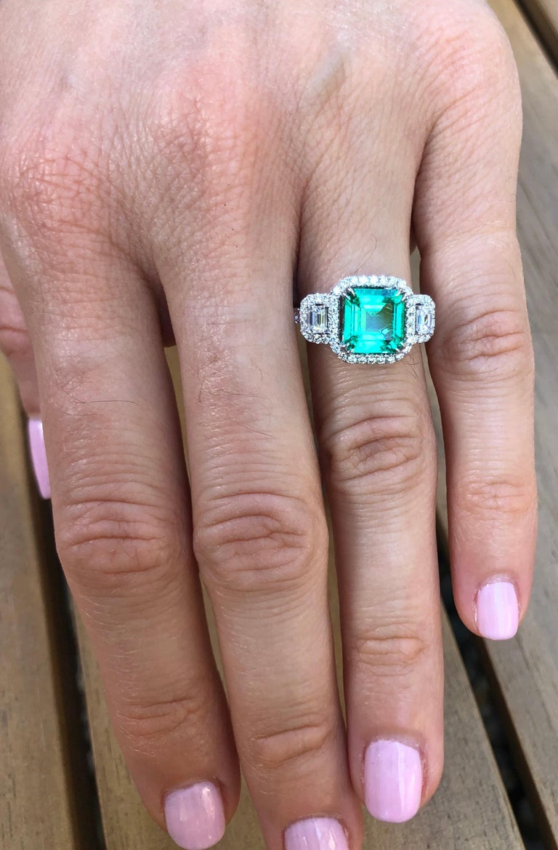 Colombian Emerald Ring 1.75 Carat Emerald Cut 1