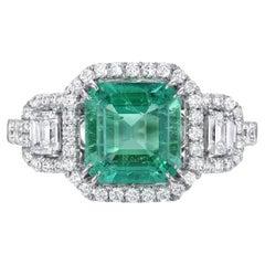 Colombian Emerald Ring 1.75 Carat Emerald Cut