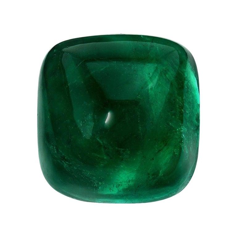 Colombian Emerald Ring Gem 15 Carat Sugarloaf Cabochon Loose Unset Gemstone For Sale