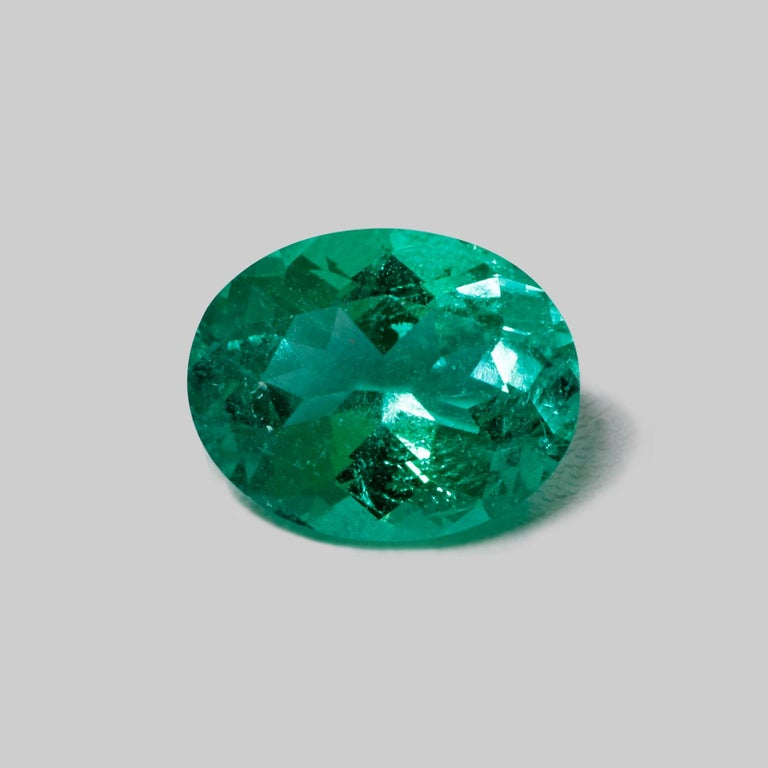 Sophisticated green color reveals the natural beauty of this beautiful oval Emerald from Colombia. This exceptional quality gemstone would make a custom-made jewelry design. Perfect for Ring!  Shape - Oval Weight - 1.78 Treatment - Minor