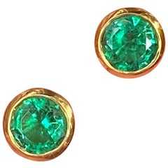 Colombian Emerald Round Stud Earrings Handmade 22 Karat Gold