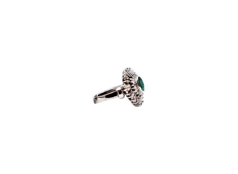 Contemporary Colombian Emerald Spray Diamond Cocktail Ring 18 Karat White Gold For Sale