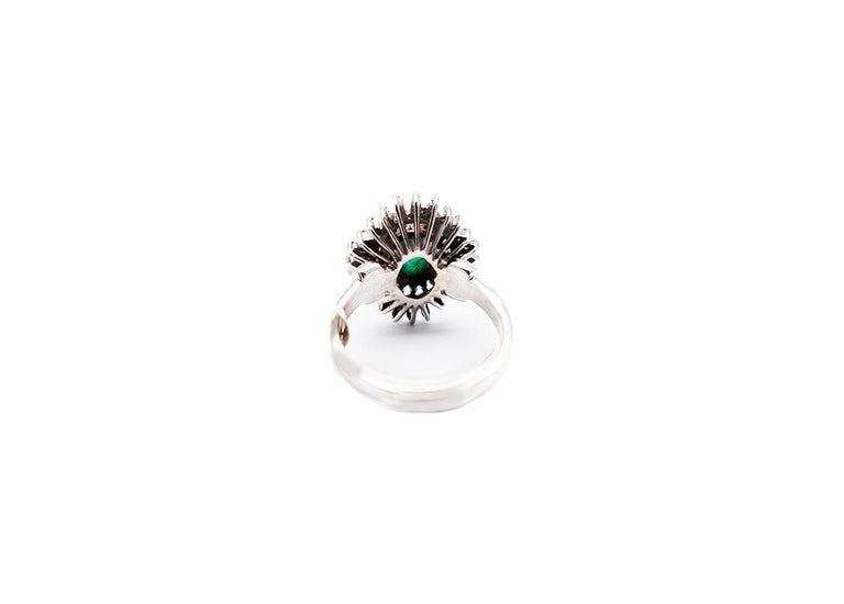 Emerald Cut Colombian Emerald Spray Diamond Cocktail Ring 18 Karat White Gold For Sale