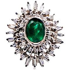 Colombian Emerald Spray Diamond Cocktail Ring 18 Karat White Gold