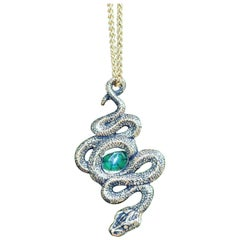 Colombian Emerald Trapiche Serpent Pendant in 18 Karat Gold