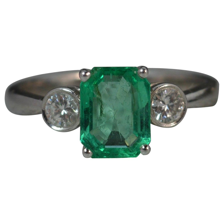 Colombian Emerald VS Diamond 18 Carat White Gold Trilogy Ring