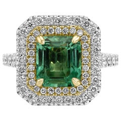 Colombian Emerald White Diamond Double Halo Two Color Gold Bridal Cocktail Ring