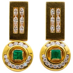 Colombian Emeralds 1.20 Carat Earrings with 1.20 Carat Diamonds