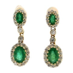 Colombian Emeralds 14 Karat White Gold Drop Earrings