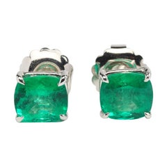 Colombian Green Emeralds and 18K White Gold Stud Earrings