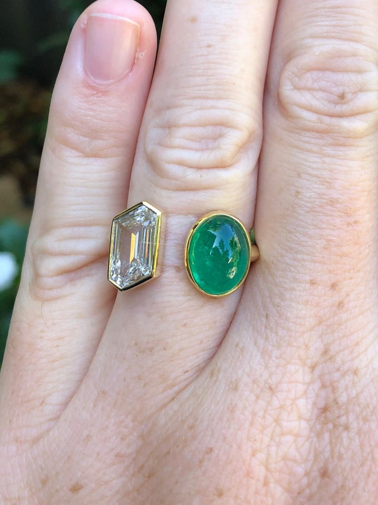Artisan Colombian Muzo Emerald and GIA Fancy Cut Diamond Engagement Ring For Sale