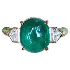 Colombian Muzo Emerald Cabochon and Diamond Engagement Ring