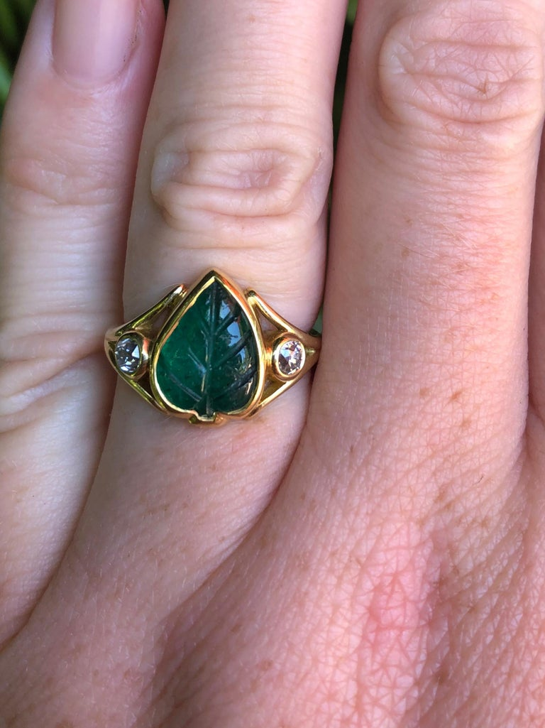 Old Mine Cut Colombian Muzo Emerald Carved Leaf and Diamond Ring For Sale