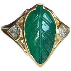 Colombian Muzo Emerald Carved Leaf and Diamond Ring