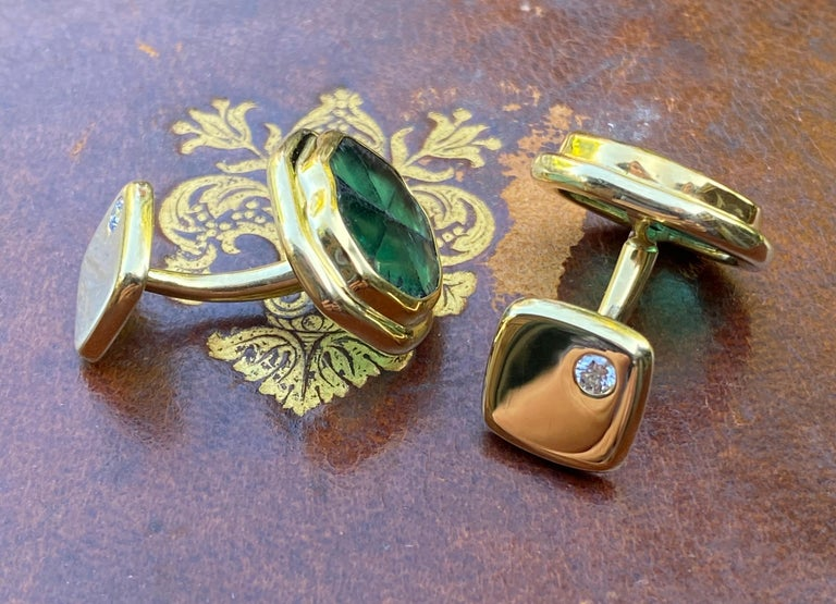 These Colombian Muzo emerald trapiche cuff links are hand forged in 22 and 18 karat gold. Trapiche are a natural Colombian emerald formation found in and near the legendary Muzo mines in Colombia.  These are one of a kind cuff links made by hand in