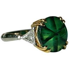 Colombian Muzo Trapiche Emerald 18 Karat Gold and Diamond Engagement Ring