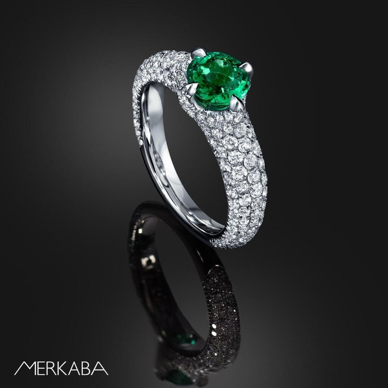 Untreated Colombian Emerald ring showcasing a