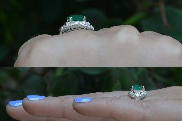 Emerald Cut Colombian Step Cut Emerald Baguette Diamonds Platinum Art Deco Engagement Ring