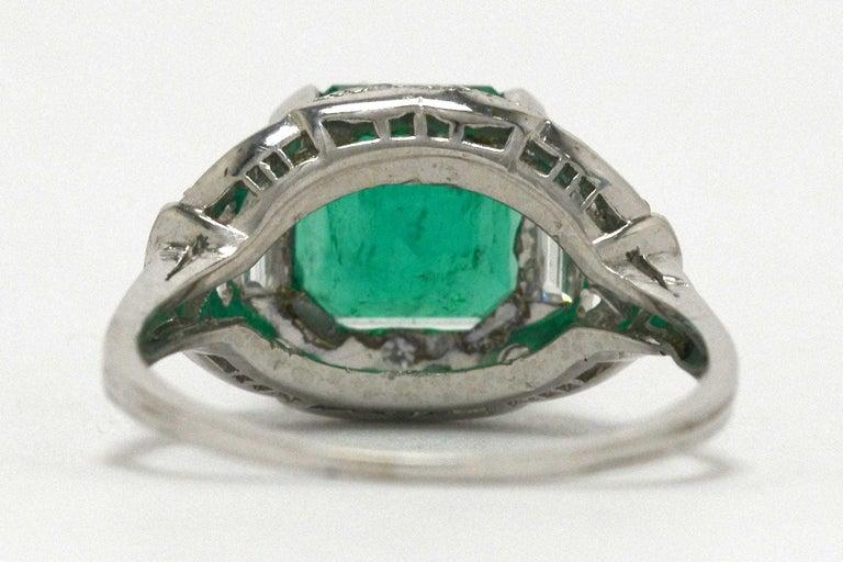 Women's or Men's Colombian Step Cut Emerald Baguette Diamonds Platinum Art Deco Engagement Ring