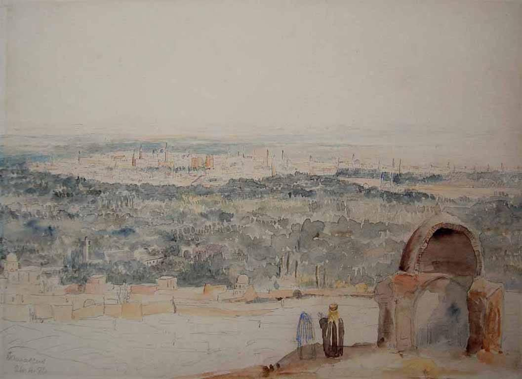 Damascus, Early 19th Century Watercolour and Bodycolour Landscape
