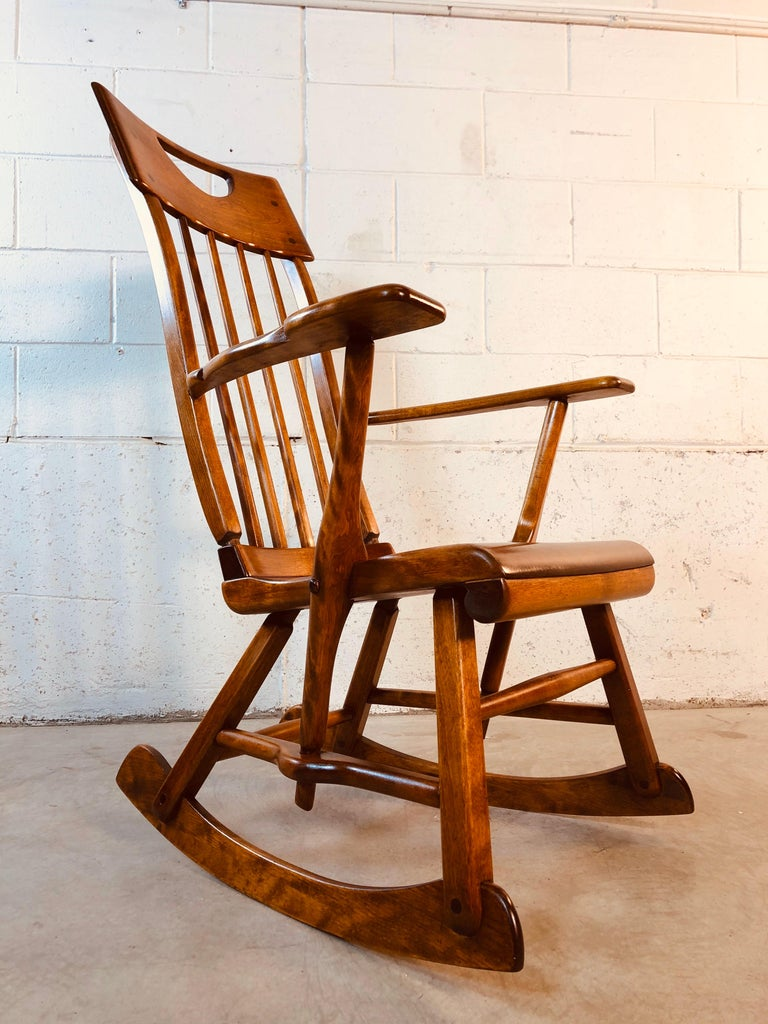 Colonial American High-Back Rocking Chair by Herman De Vries for Sikes Furniture For Sale 4