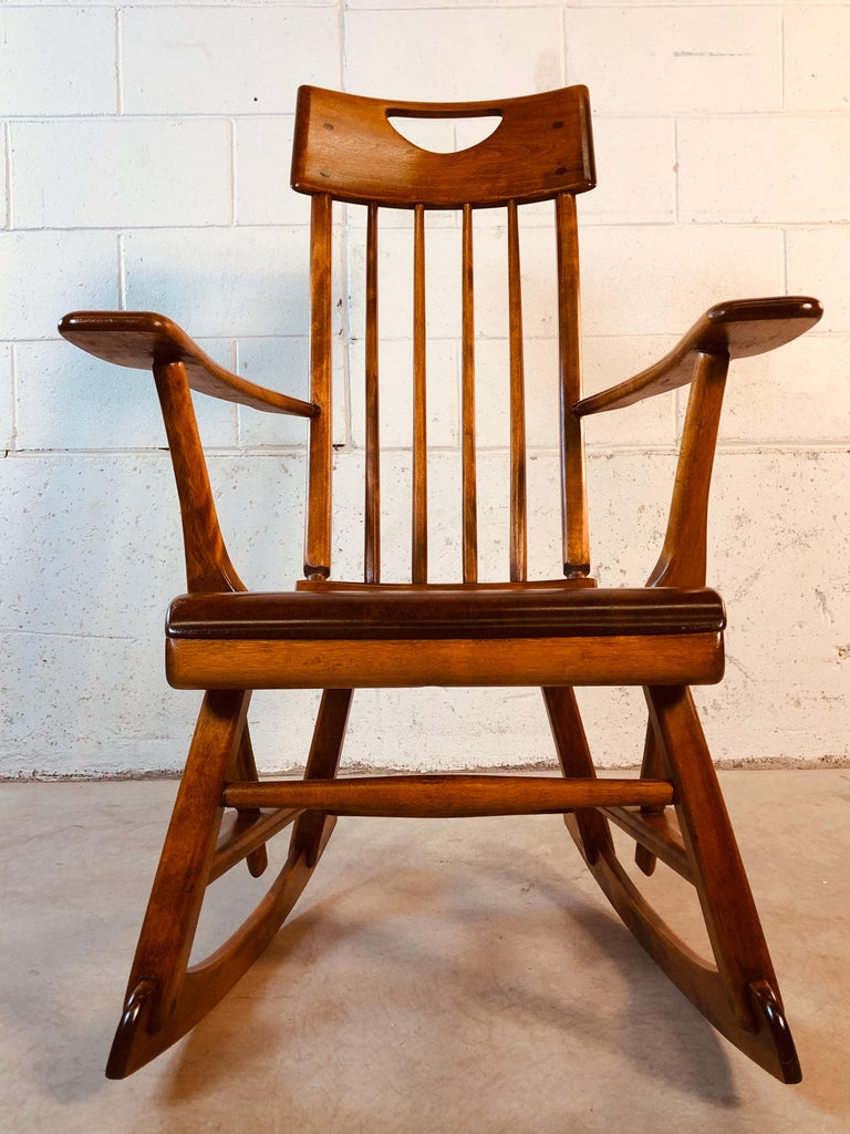 Colonial American High-Back Rocking Chair by Herman De Vries for Sikes Furniture For Sale 5