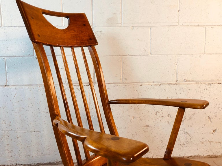 Colonial American High-Back Rocking Chair by Herman De Vries for Sikes Furniture For Sale 7