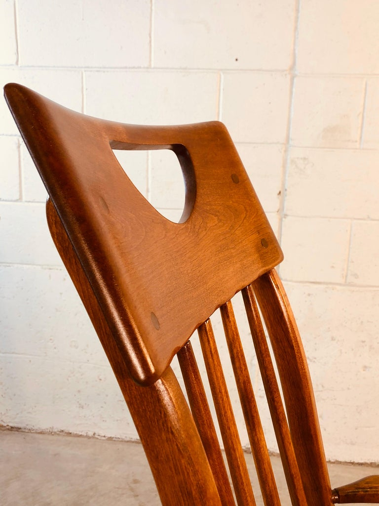 Colonial American High-Back Rocking Chair by Herman De Vries for Sikes Furniture For Sale 8