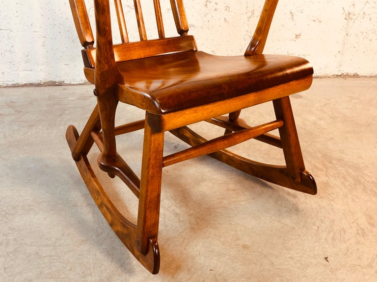 Maple Colonial American High-Back Rocking Chair by Herman De Vries for Sikes Furniture For Sale