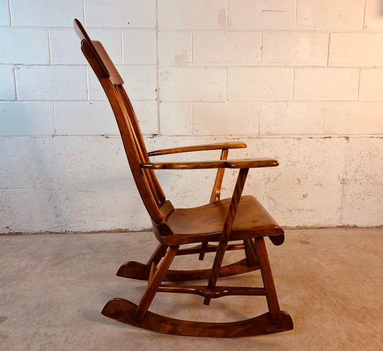 Colonial American High-Back Rocking Chair by Herman De Vries for Sikes Furniture For Sale 1