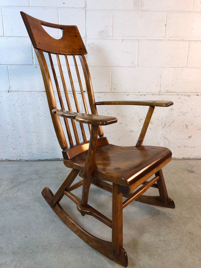 Colonial American High-Back Rocking Chair by Herman De Vries for Sikes Furniture For Sale 3