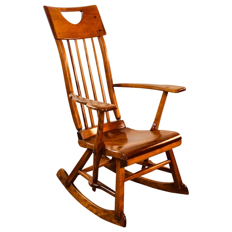 Colonial American High-Back Rocking Chair by Herman De Vries for Sikes Furniture For Sale
