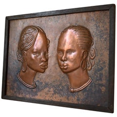 Colonial Art Deco Style Copperware Panel with Rich Patina, 2 African Women, 1984
