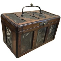 Colonial British Teak and Glass Tea Caddy, Early 1900s