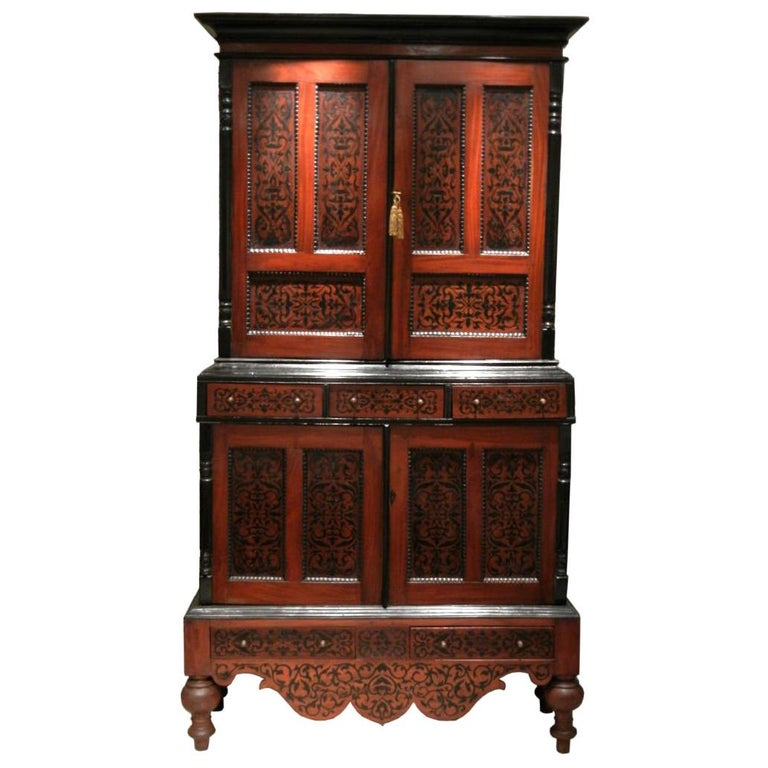Colonial Dutch Mahogany Cabinet Inlaid with Ebony For Sale