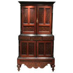 Colonial Dutch Mahogany Cabinet Inlaid with Ebony