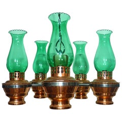 Colonial French Country Copper and Wood Chandelier Oil Lamp w Green Glass Shades