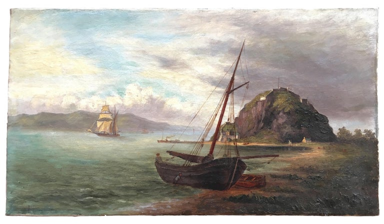 This delightful colonial oil painting came from a Townsville (Queensland, Australia) estate and we can provide no provenance beyond this location. It is unsigned and untitled. We at first assumed the landmass in the background and the rocky hill in