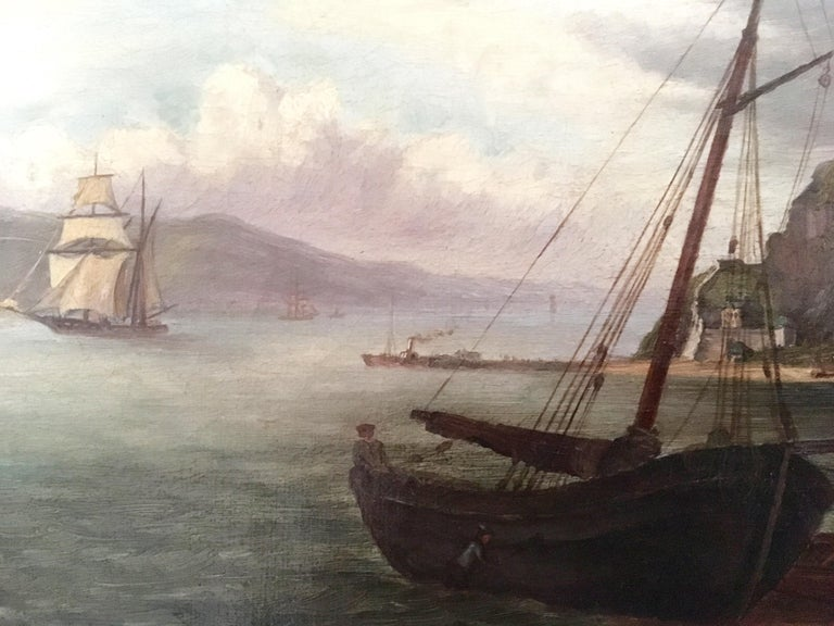 British Colonial Colonial Oil Painting, Fort with Steamship, Early Victorian For Sale