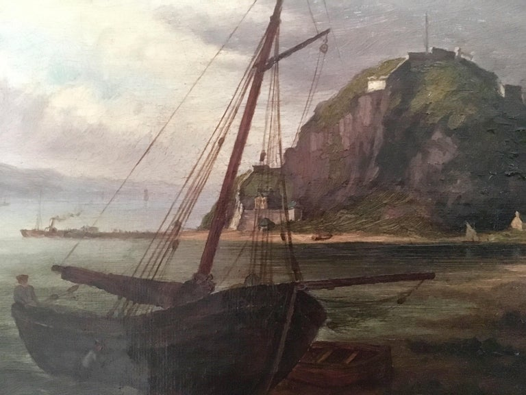 Unknown Colonial Oil Painting, Fort with Steamship, Early Victorian For Sale