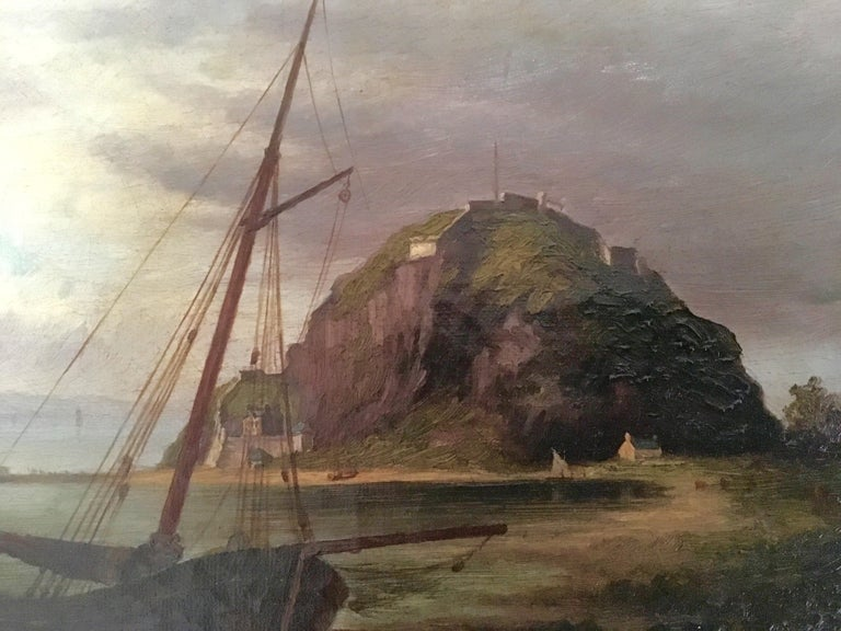 Colonial Oil Painting, Fort with Steamship, Early Victorian In Good Condition For Sale In Melbourne, AU