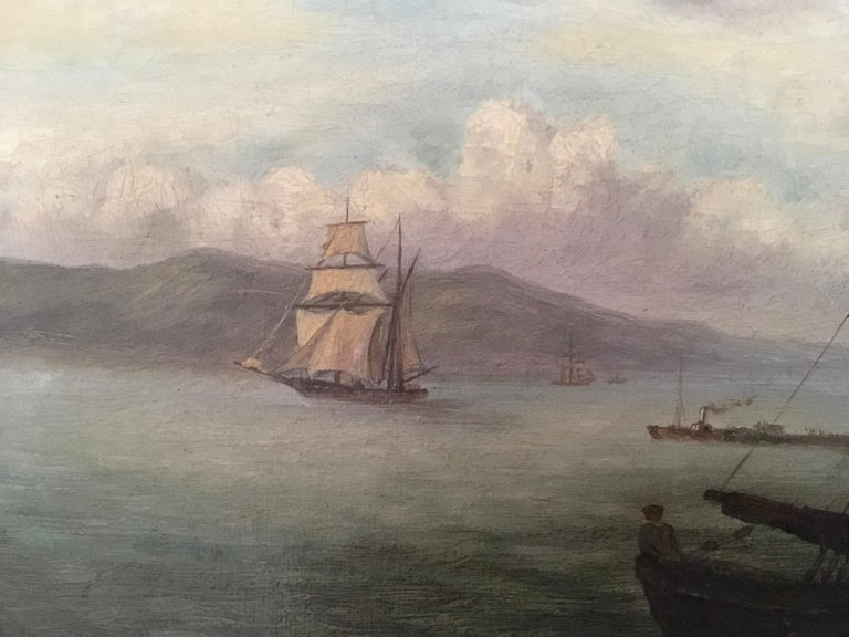 Mid-19th Century Colonial Oil Painting, Fort with Steamship, Early Victorian For Sale